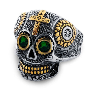 316L Stainless Steel Biker Skull Ring Men Ring