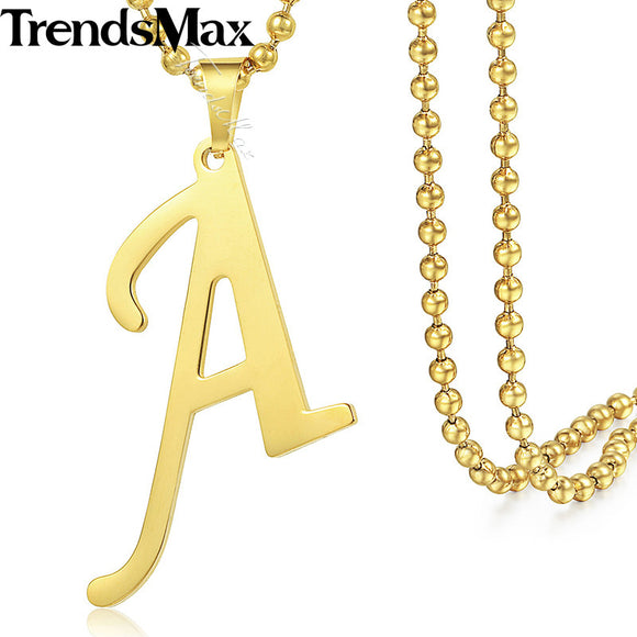 Alfabet Capital Initial A-Z Letter Pendant Necklace for Womens Chocker Gold Filled Chain 55cm