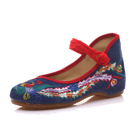 Veowalk Spring Handmade Woman Ballet Flats Shoes Sequined Peacock Embroidery Shoes