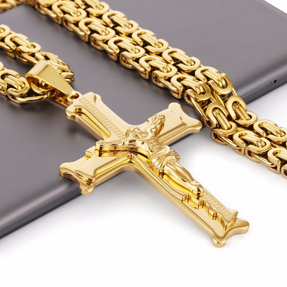 Gold Color Stainless Steel Jesus Cross 21.65