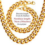 12MM Chunky Jewelry Sets Big Chain Necklace And Bracelet Black Gun/Gold Color Stainless Steel