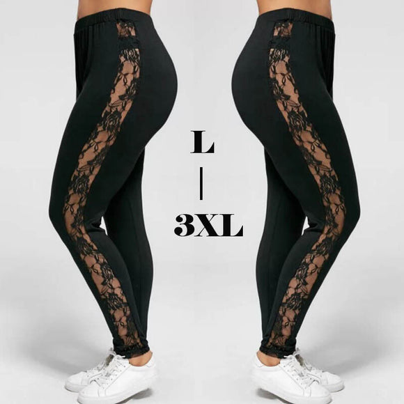 Sexy Women Holllow Out Lace Leggings Sexy High Waist Bandage Pants Insert Sheer Leggings Viscose Elastane