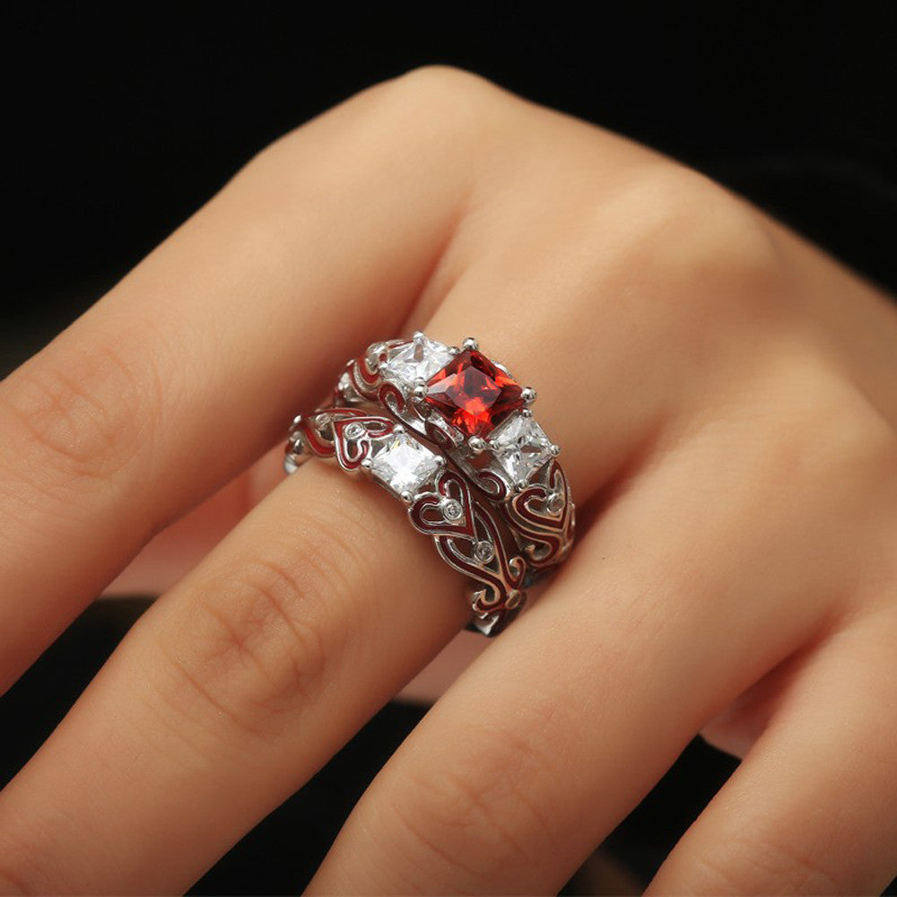 2-in-1 Womens Red Diamond Silver Engagement Wedding Heart Rings