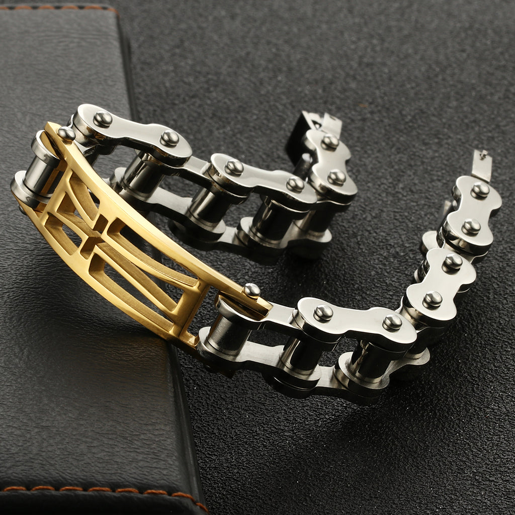 Stainless Steel Chain Bracelet for Men Steampunk Bike Cycle Link Chains