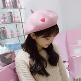 Sweet Women Winter Hats with Heart Solid Black Pink Grey Artist Painter Berets for Winter Western Style Wool Beret Hats