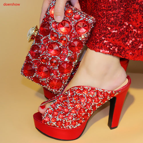 Fashion Women Wedges red Shoes And Bag Set To Match High Quality Italian Shoes With Matching Bags For Party
