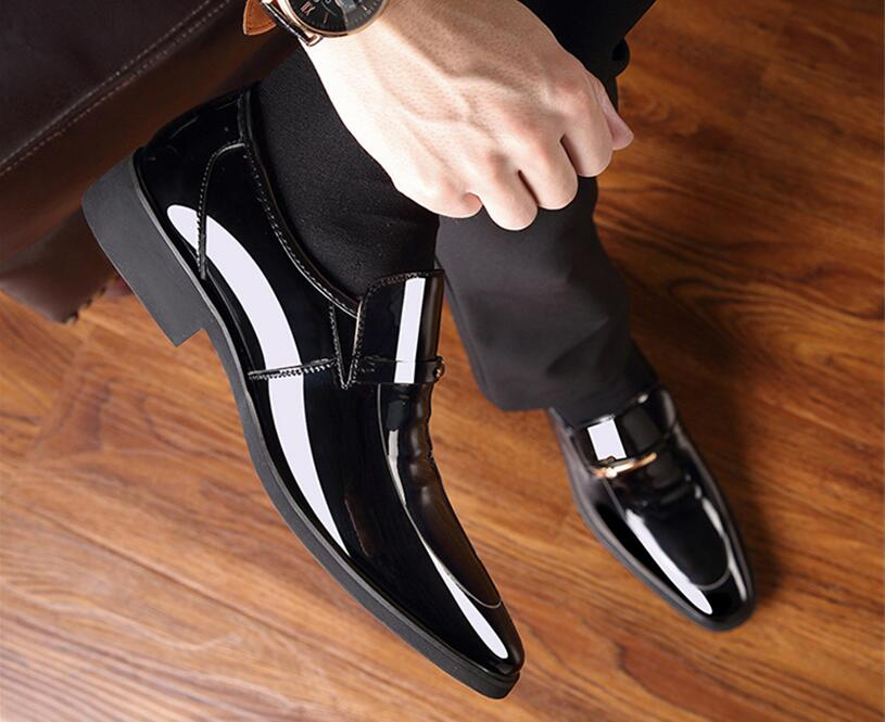 Men Business Leather Formal Shoes Pointed Toe Mens Dress Shoes Patent Leather