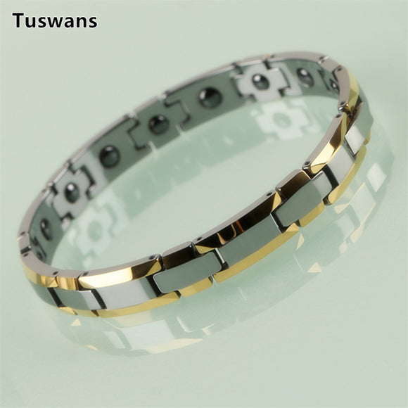 Delicate Lovers Style Gold Color H-shaped Tungsten Bracelets & Bangles with Magnetic