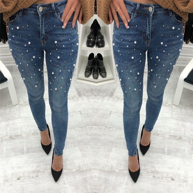 Women jeans casual fashion solid color boyfriend jeans nail beads decorative holes broken worn ripped jeans