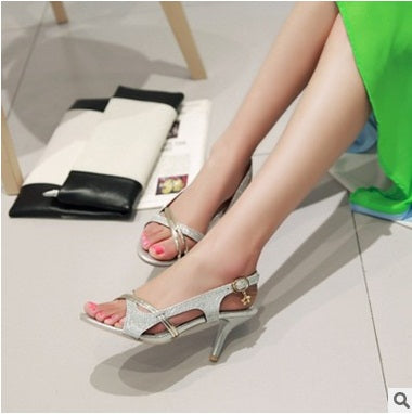 Matching shoes & bag italy Plus Small size(3-17)Glitter Thin High heels Open Toe Women Pumps Buckle