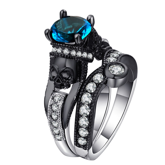 Black Skull Ring Set 925 Sterling Silver Color Fashion Wedding & Engagement Ring Set For Women