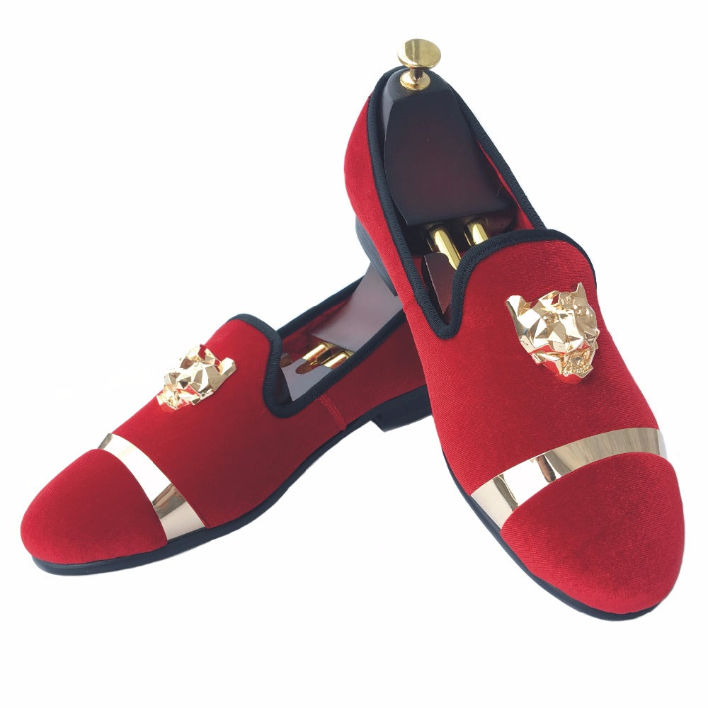 Fashion Men Red Velvet Loafers Slippers Buckle Men Velvet Shoes with Gold Accents Prom and Party Loafers Slip