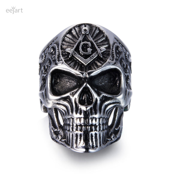 Stainless Steel Masonic skull rings Punk Man's High Quality