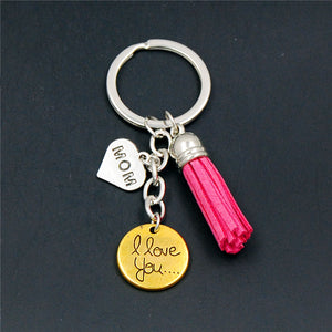 1PC  Heart Key Chain I Lover Mom Pink Tassel Key Ring Mother's Day Gift