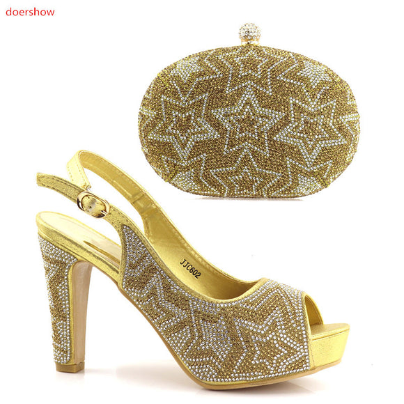 Gold African Shoes and Matching Bags Italian Rhinestone Shoe and Bag Set