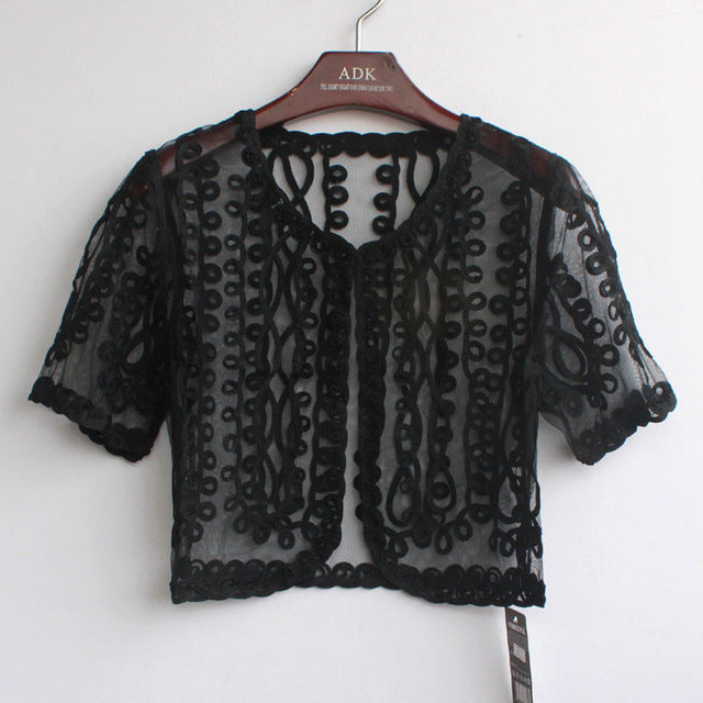 Summer Embroidery Mesh Crochet Lace Embellished Cape Short Sleeve V Collar Women Cardigan