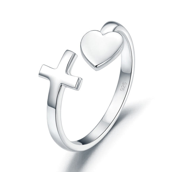 Plain Solid Silver Ring Cross Heart for Lady Trendy Stylish