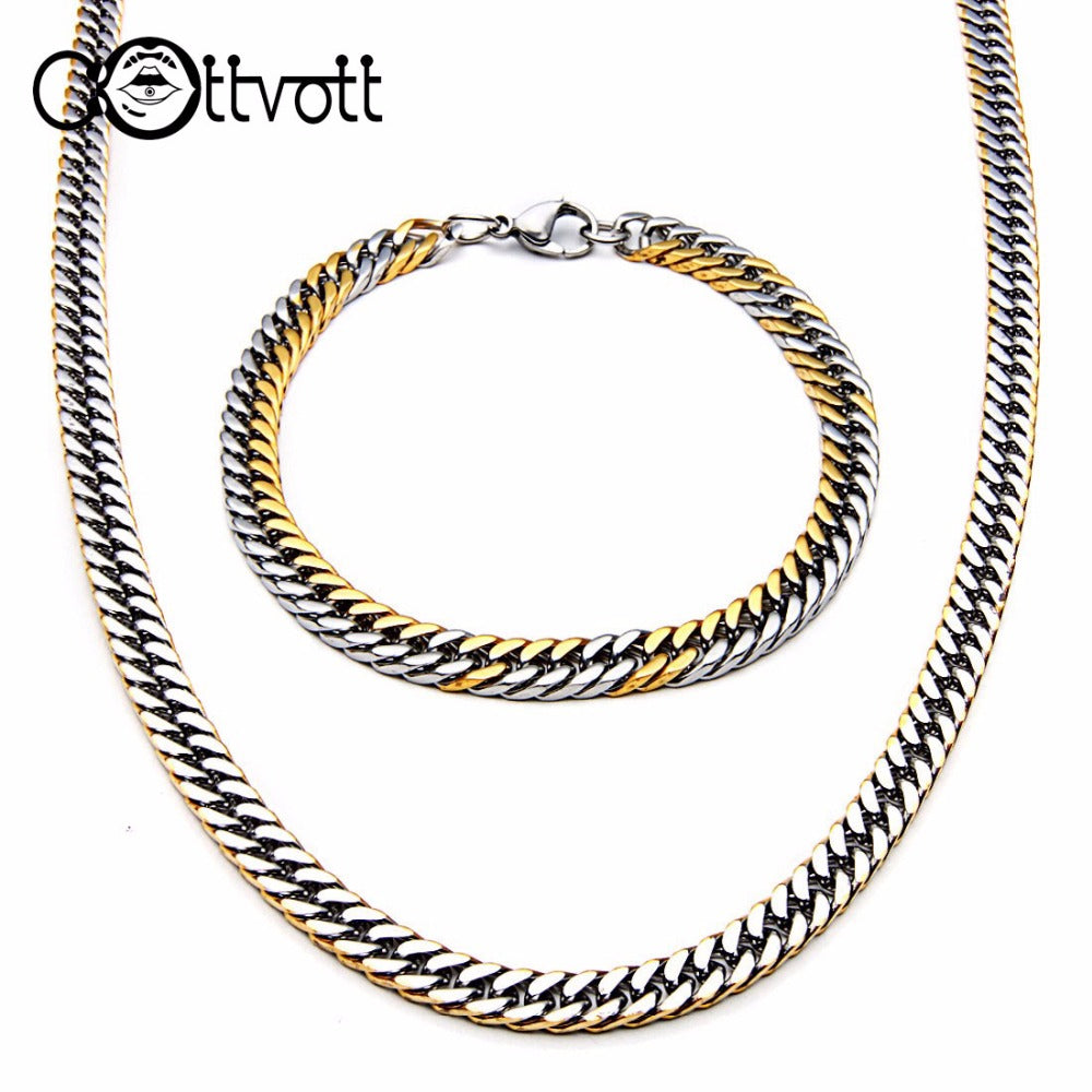 Cool Stainless Steel Snake Chain Necklace Bracelet Set for Men Gold Silver Color Jewelry