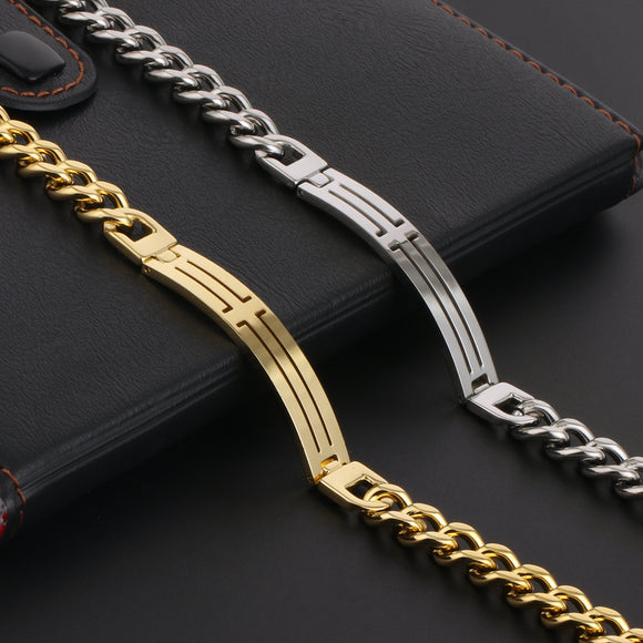 Chain Bracelet for Men Fashion Stainless Steel Hollow Cross Link Chain