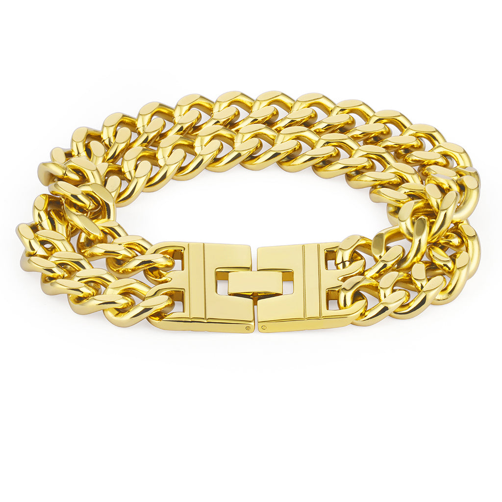 Big Hiphop Bracelet for Men Gold Color Stainless Steel Bracelets Long Double Chain