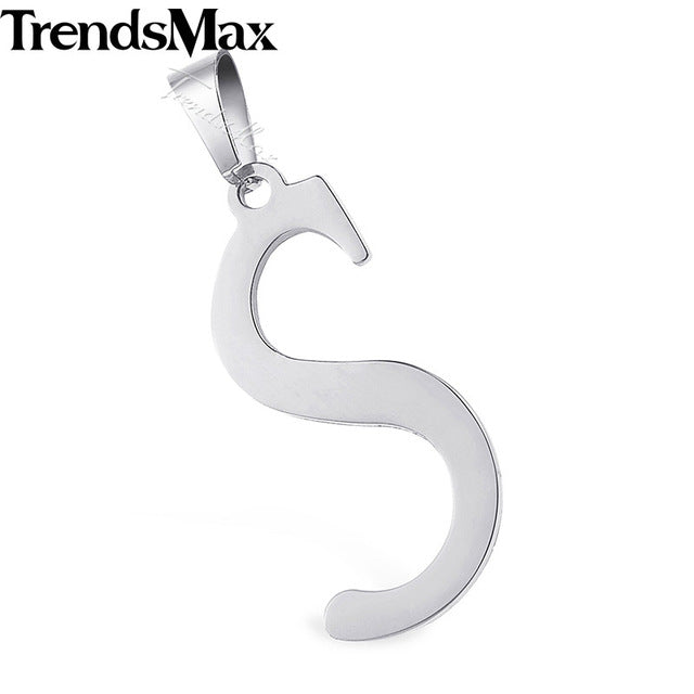 Mens Womens Letter Pendant Gold Color Polished Alphabet Charm Necklace Stainless Steel