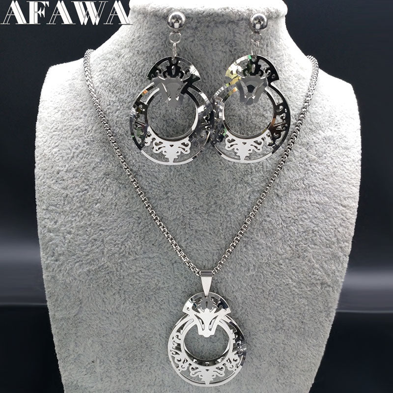 Stainless Steel Jewlery Sets for Women Flower Silver Color Earrings Necklace