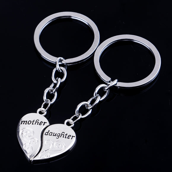 Set Mother Daughter Broken Heart Keyring Keychain Mother's Day Gift