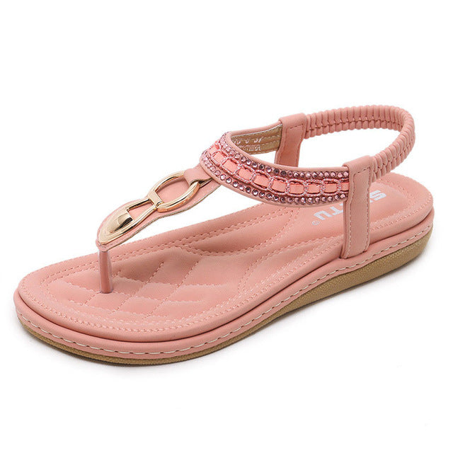 Shoes woman sandals 2018 string bead flip flop metal decoration wedge beach sandals
