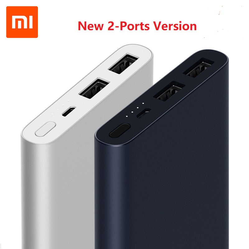 Xiaomi Mi Power Bank 2 10000mAh Upgrade with Dual USB Output Powerbanks Supports Two Way Quick Charge for samsung xiaomi iphone