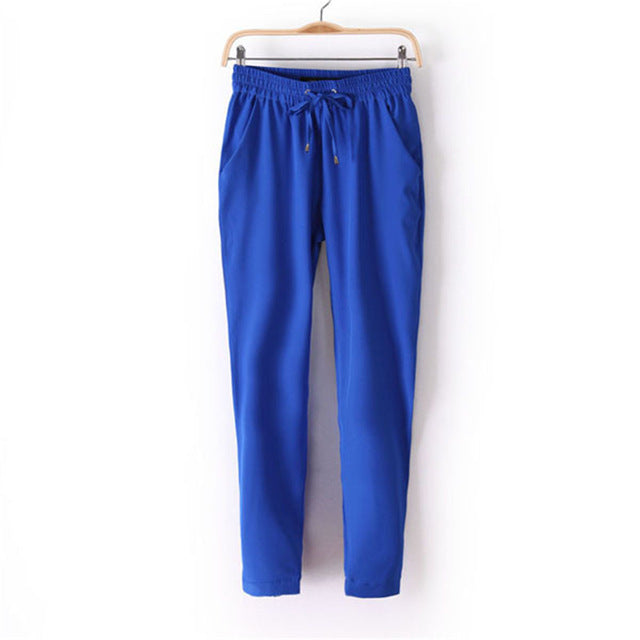 Women Casual Slim Harem Pants Female Mid Waist Drawstring Bow 7 Colors Cheap Chiffon Outwear Bottom