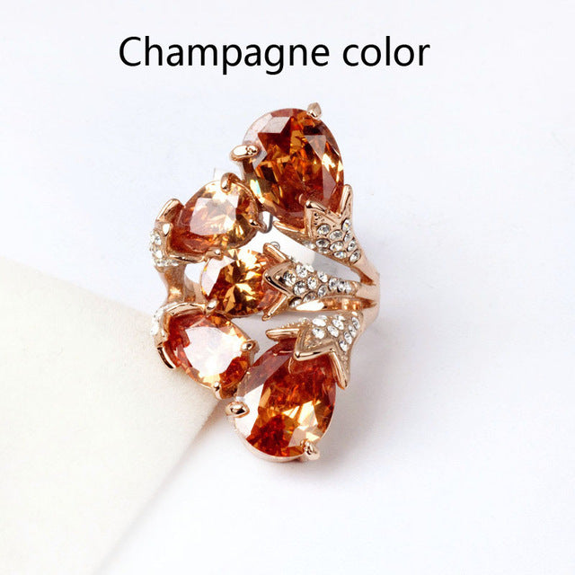 Brilliant Amazing Big Red Stone Ring Cubic Zirconia Ring Rose Gold Color Cocktail Ring Party Jewelry