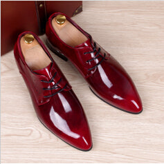 Mens leisure wedding party wear bright patent leather shoes pointed-toe oxfords shoe