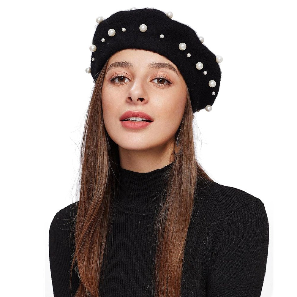 Lawliet Women Pearls Beret Hat Elegant Wool Felt Cap Sweet Beret Autumn Winter Hat