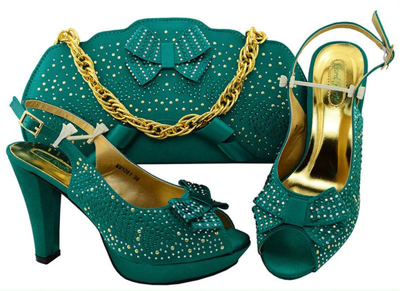Teal Color Italian Shoes with Matching Bags Set Decorated with Rhinestones