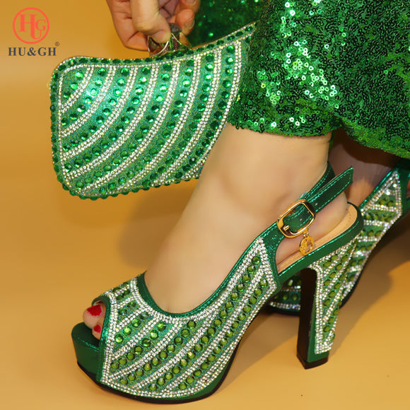 Lastest African Sets Green Color Italian Shoes with Matching Bags High Quality Women Shoe and Bag To Match for Parties