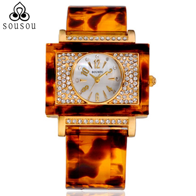 Fashionable Big Square Dial Ladies Watches for Women Designer Golden Rose Leopard Resin Watch
