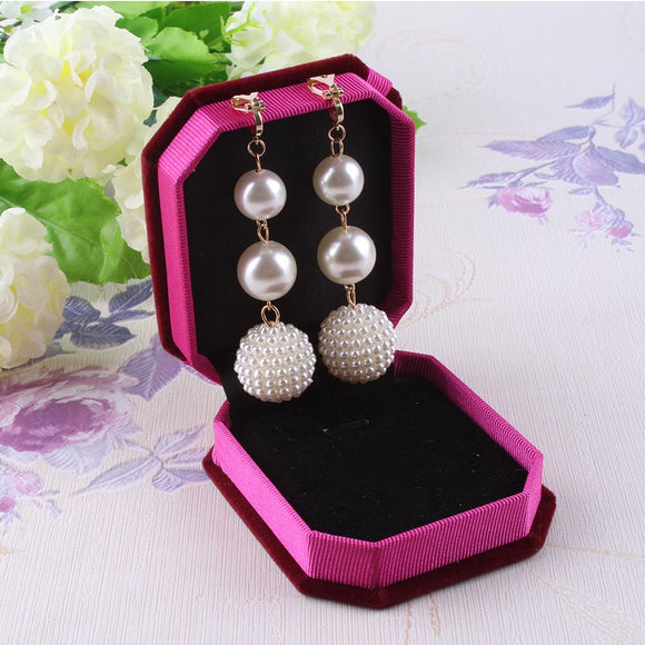 Trendy Elegant Created Big Simulated Pearl Long Clip on Earrings Pearls String Statement Clip Earrings