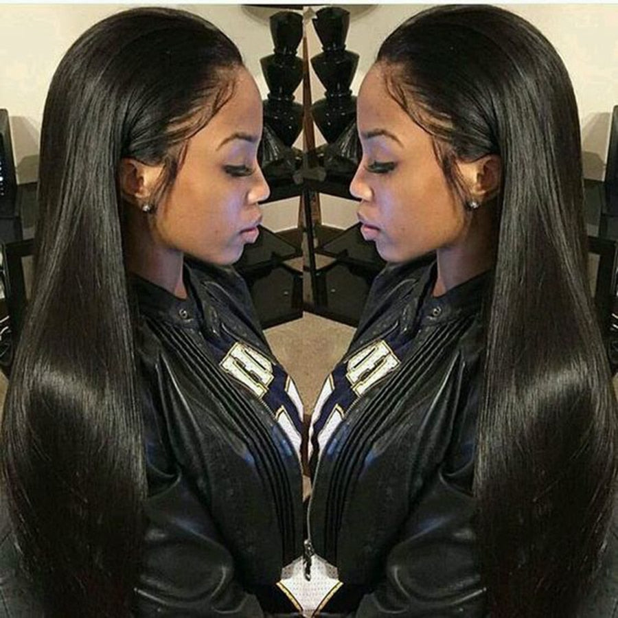 "Straight Lace Front Human Hair Wigs Free Part Brazilian Remy Hair Wig 8""-24""Pre Plucked Natural Hairline"