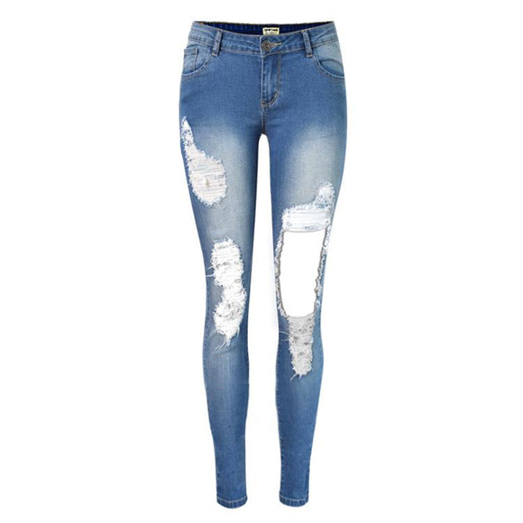 Fashion Pencil Pants girl Hole jeans woman skinny ripped jeans for woman vaqueros mujer boyfriend jean denim pants pantalon
