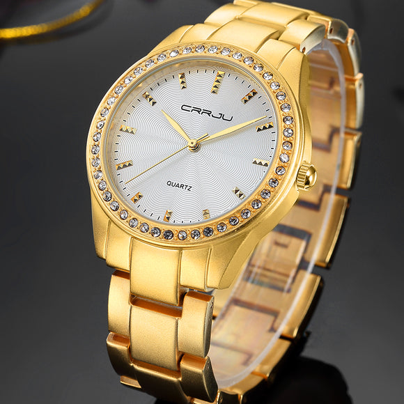Fashion Women Watches Top Brand Luxury CRRJU Clock female Gold Steel