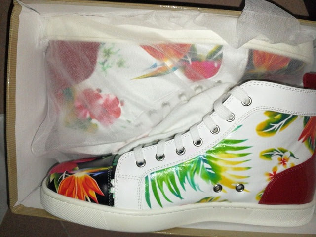 Floral Printing Sneaker High Top Espadrilles Platform Flat Lace-up Ankle Boots High Quality Zapatillas Hombre