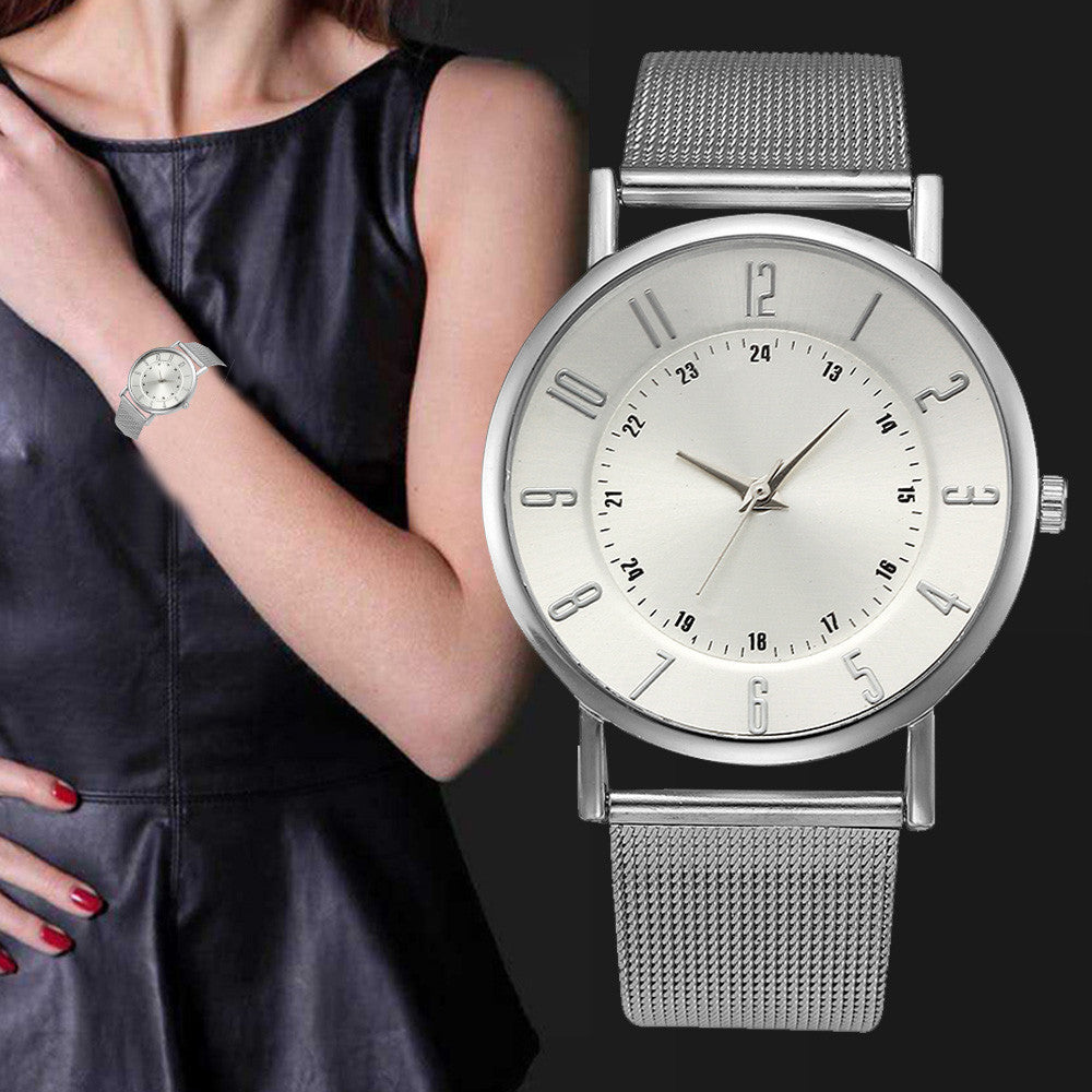 Relogio Sliver Stainless Steel Watches Women Classic Metal Mesh Band Quartz