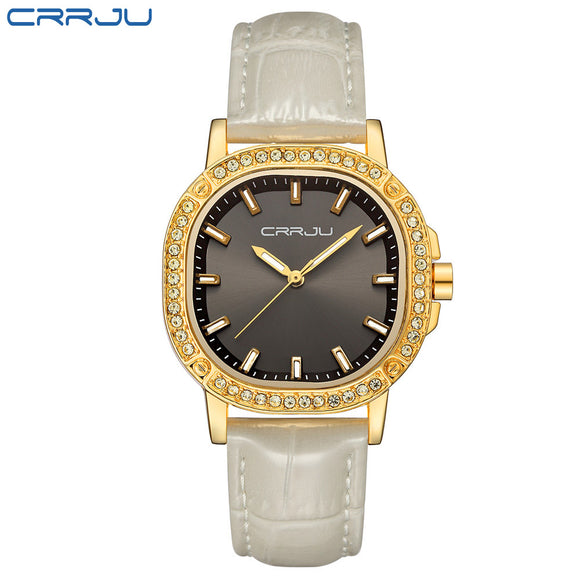 New Fashion brand leather strap Diamond quartz women watches women ladies dress watches