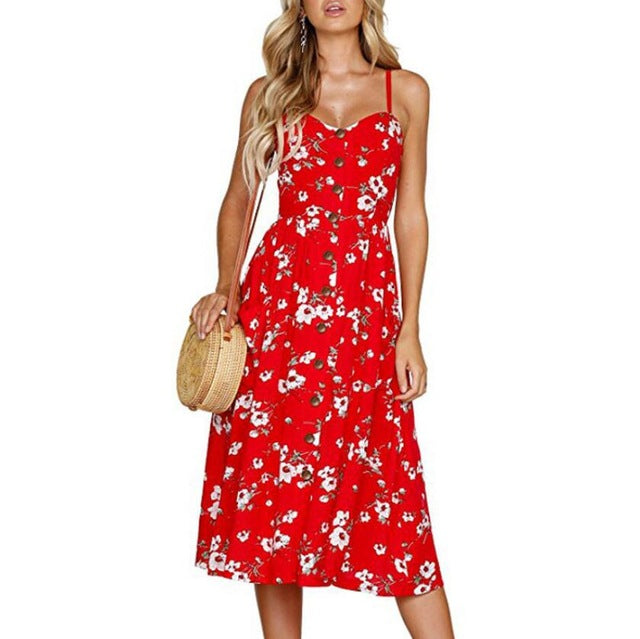 Sexy V Neck Backless Floral Print Summer Beach Dress Party Midi Dresses