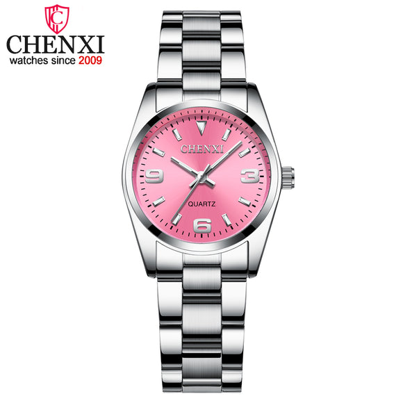Fashion Pink Dial Watches For Women High Quality Quartz Watch Elegant Dress Ladies Stainless Steel