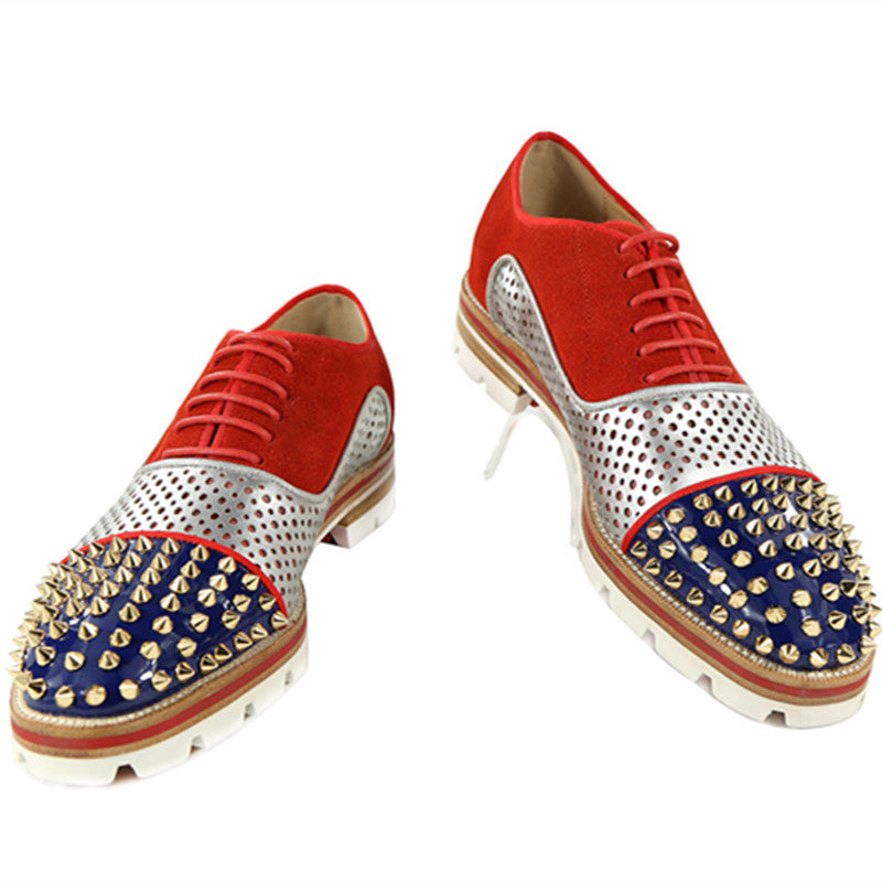 Rivet Flats Lace-up Anti-skid men Oxfords Breathable Camping Shoes for Men Red Blue Black Pink