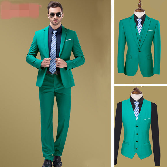 Tuxedos 3 Pieces Slim Fit Formal Business Men Suits Groom Wear Best Man Suit Jacket+Pants+Vest