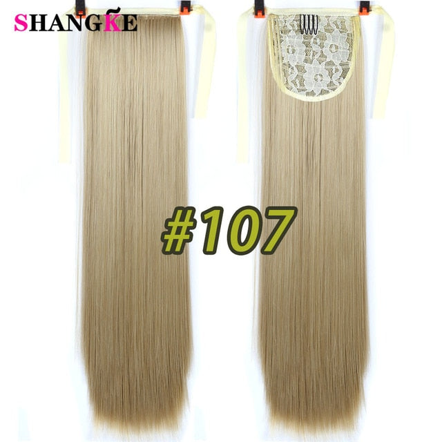 22'' Long Straight Ponytails Clip In Ponytail Drawstring Synthetic Pony Tail Heat Resistant Fake Hair Extensions