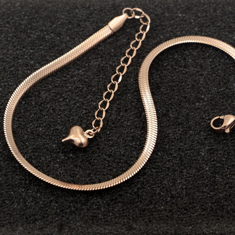 Flat Snake Bone Chain Rose Gold Anklet Titanium Steel Women Feet Jewelry