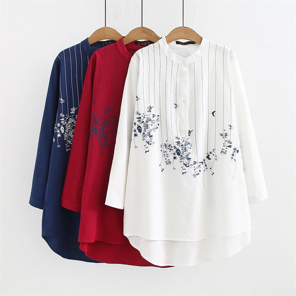 Plus size mandarin collar long sleeve blouses Embroidered red & white & dark blue shirt